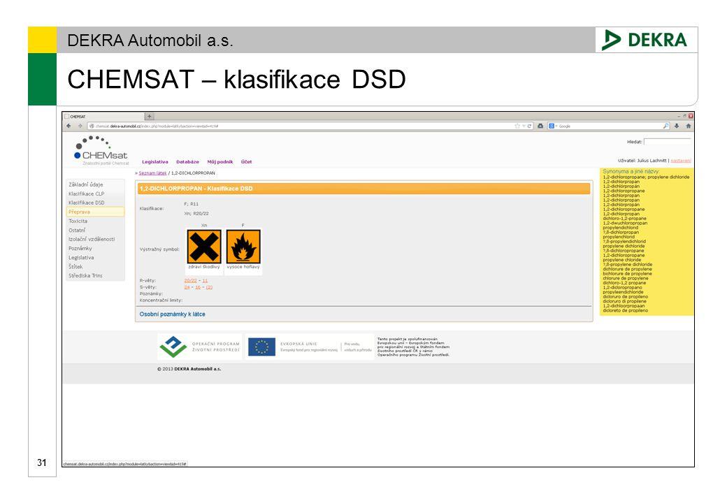 CHEMSAT – klasifikace DSD