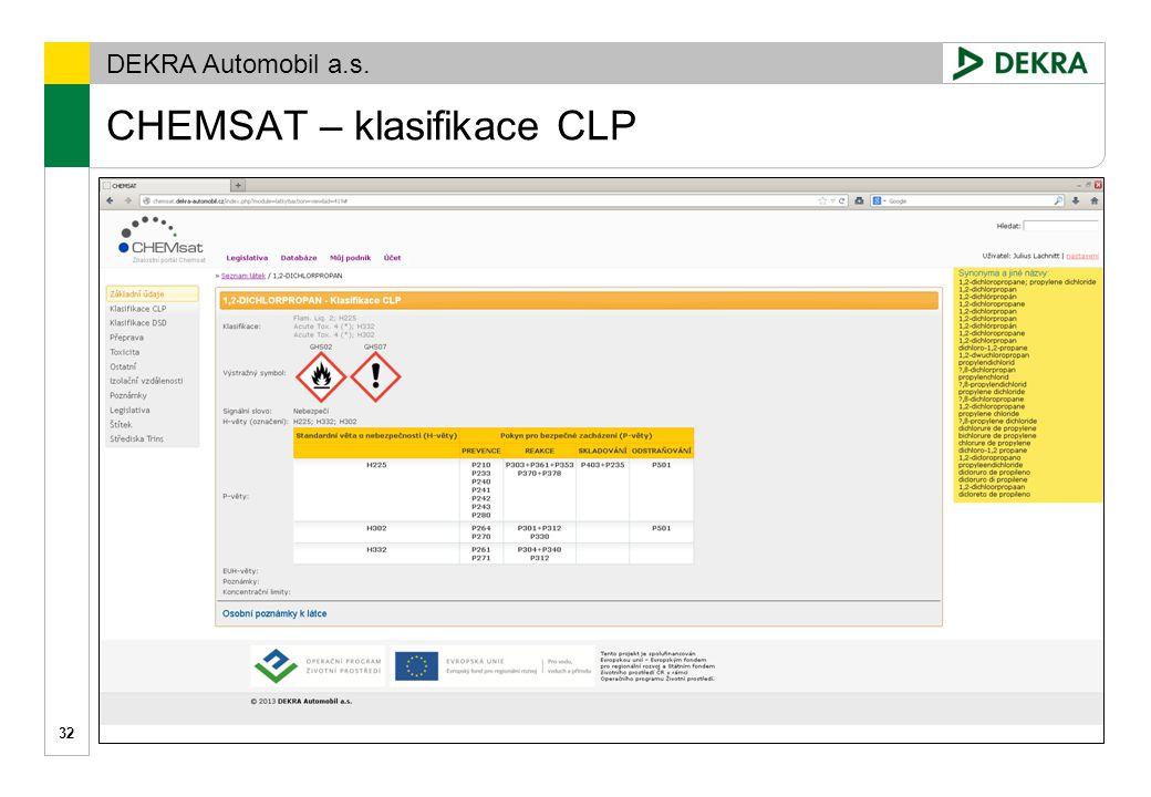 CHEMSAT – klasifikace CLP