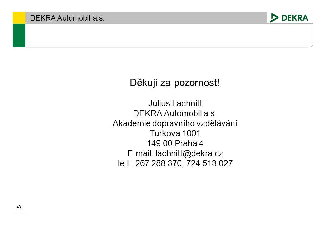 Děkuji za pozornost. Julius Lachnitt DEKRA Automobil a. s