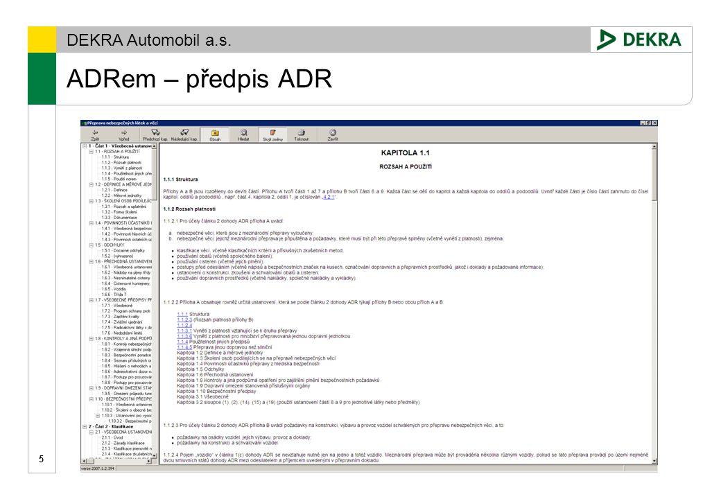 ADRem – předpis ADR