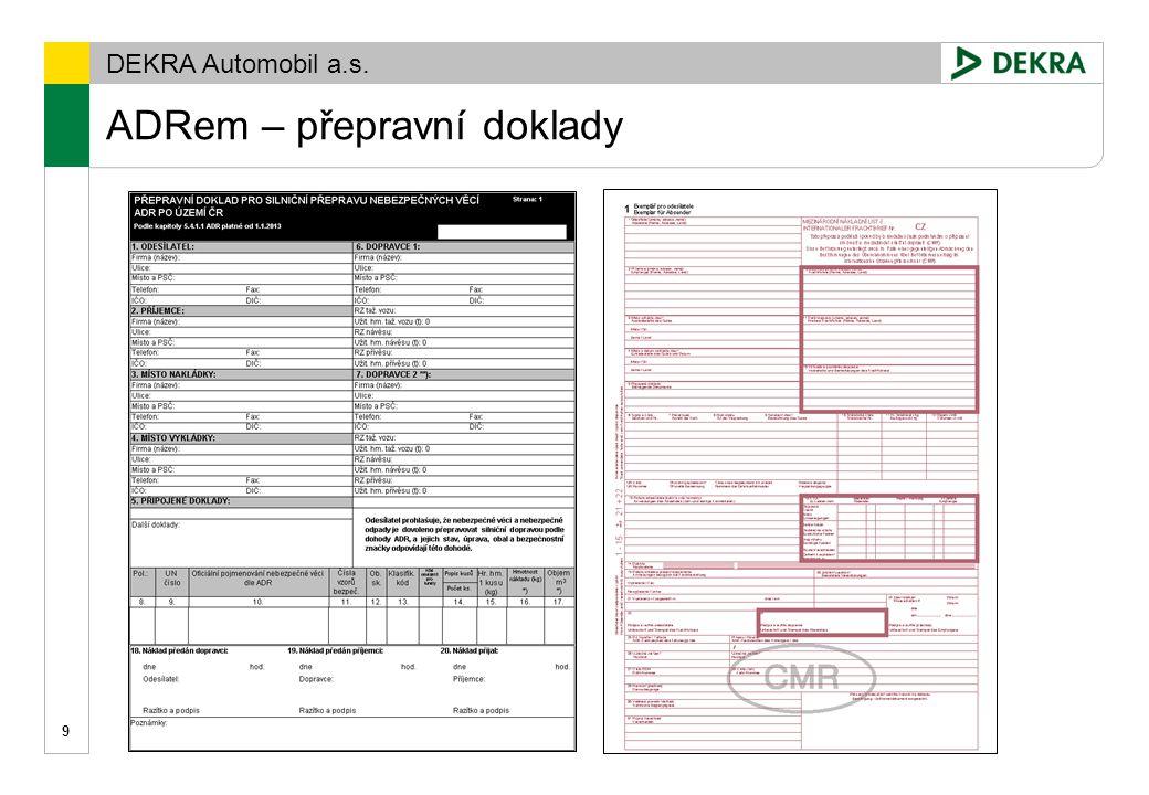 ADRem – přepravní doklady