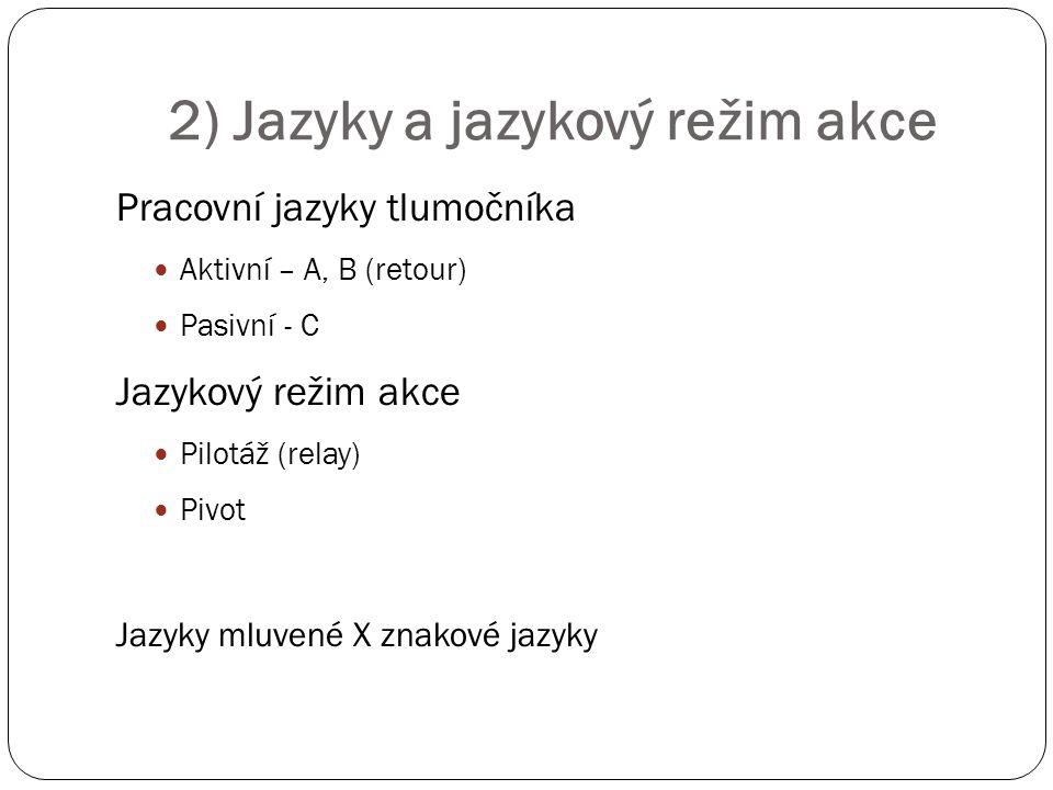 2) Jazyky a jazykový režim akce
