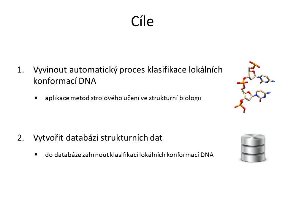 Cíle Vyvinout automatický proces klasifikace lokálních konformací DNA