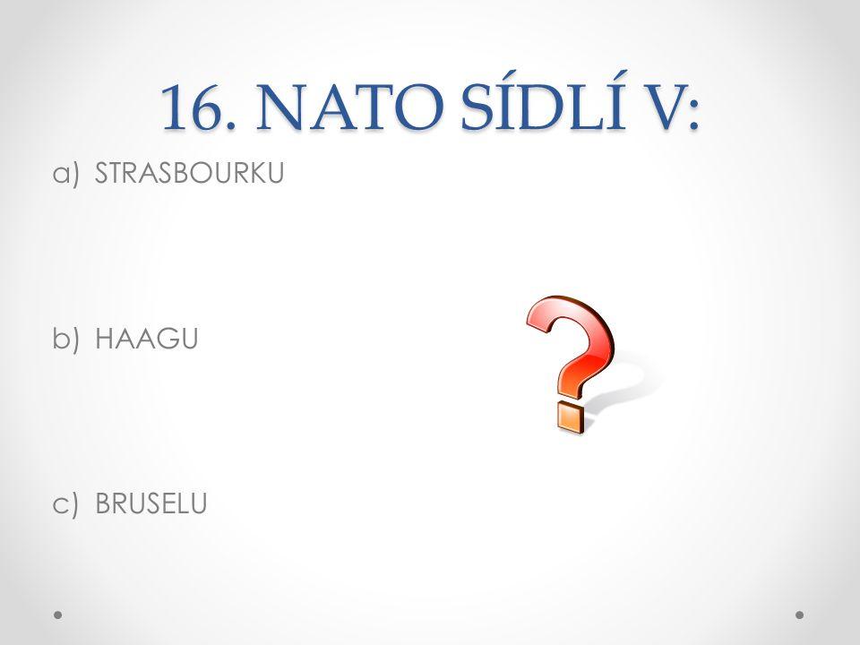 16. NATO SÍDLÍ V: STRASBOURKU HAAGU BRUSELU