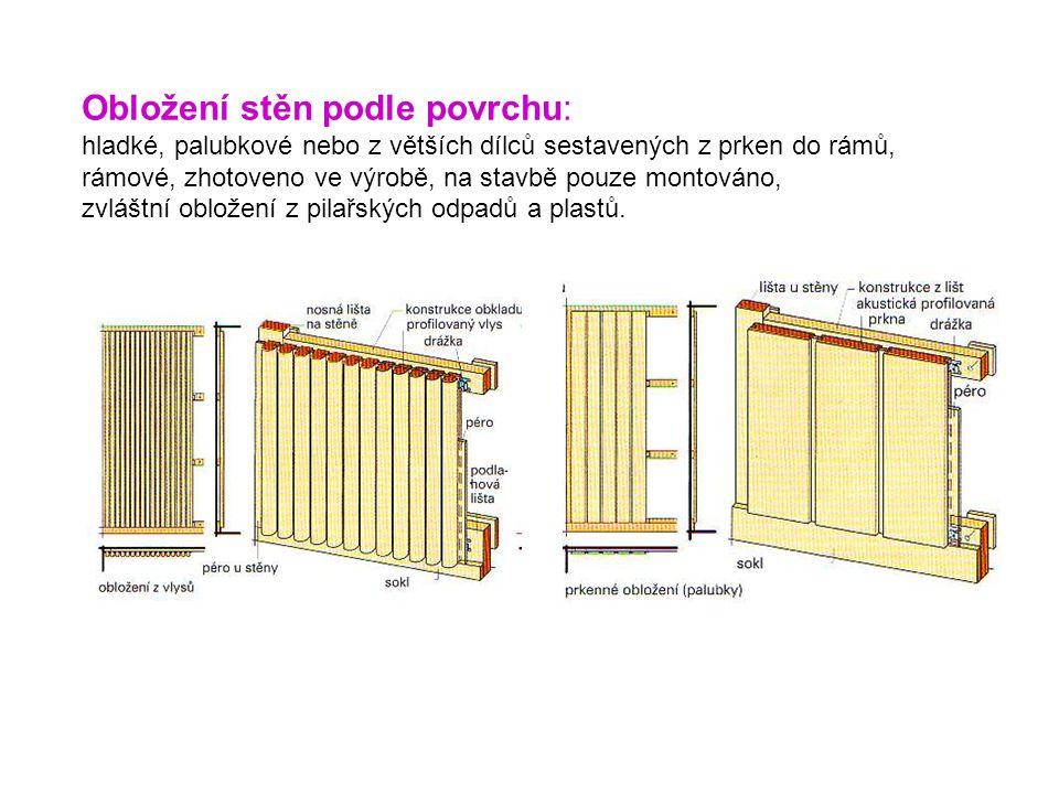 Obložení stěn podle povrchu: