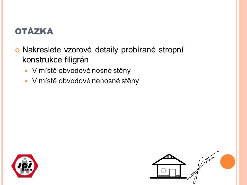 otázka Nakreslete vzorové detaily probírané stropní konstrukce filigrán. V místě obvodové nosné stěny.