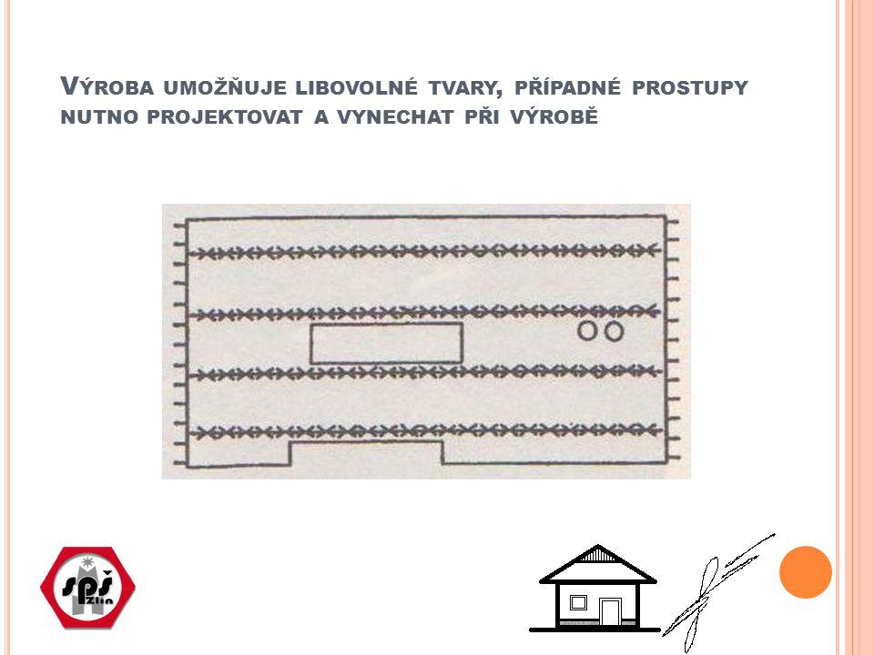 Výroba umožňuje libovolné tvary, případné prostupy nutno projektovat a vynechat při výrobě