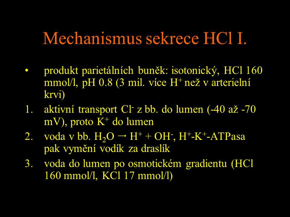 Mechanismus sekrece HCl I.