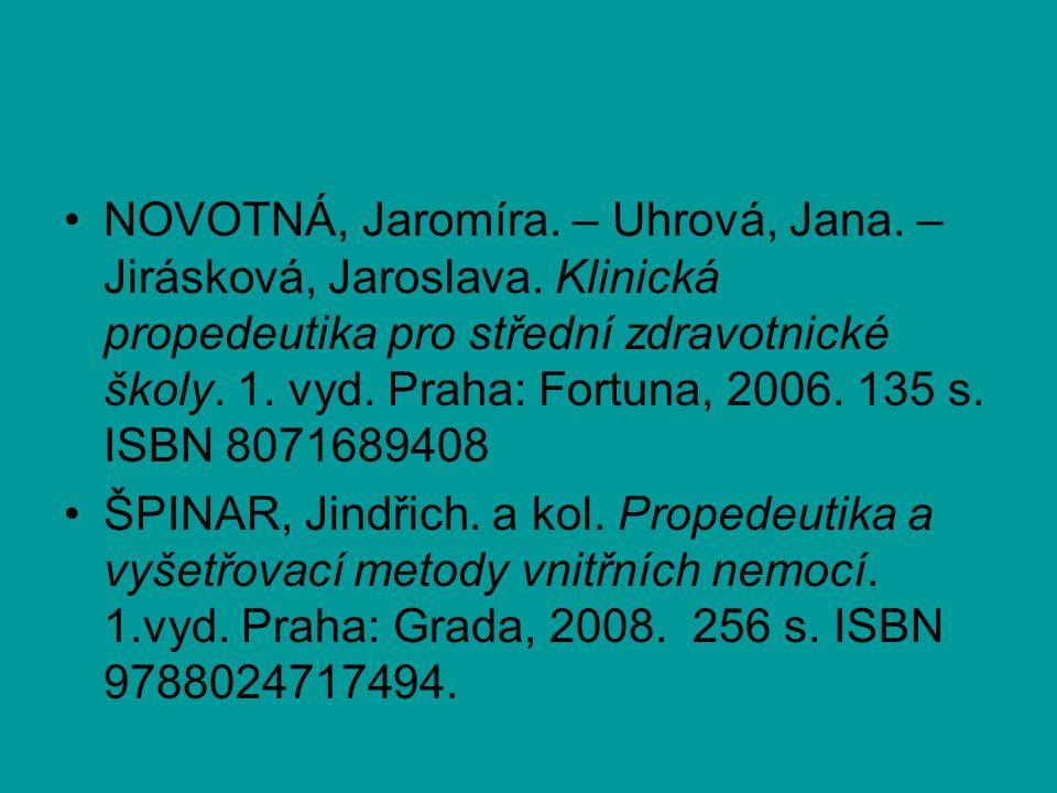 NOVOTNÁ, Jaromíra. – Uhrová, Jana. – Jirásková, Jaroslava