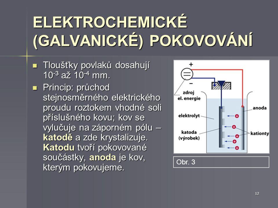 ELEKTROCHEMICKÉ (GALVANICKÉ) POKOVOVÁNÍ