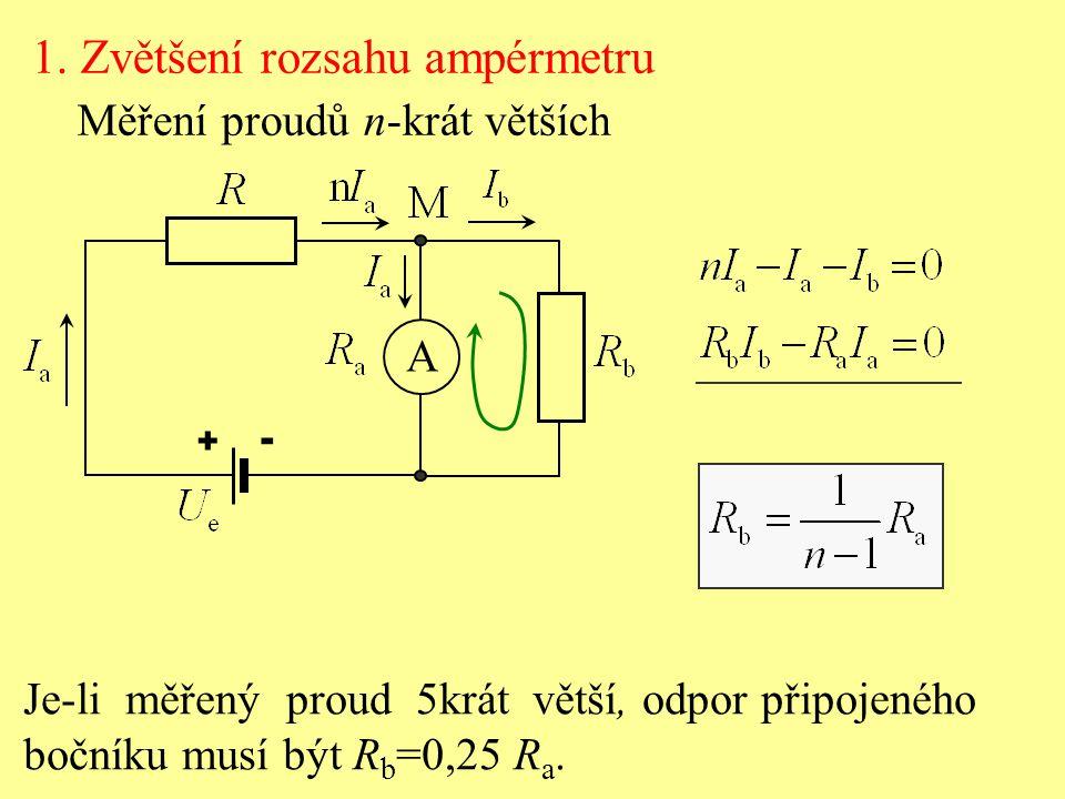 1. Zvětšení rozsahu ampérmetru