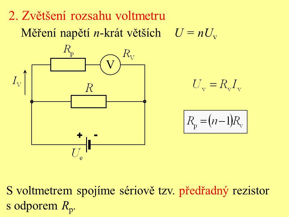 2. Zvětšení rozsahu voltmetru