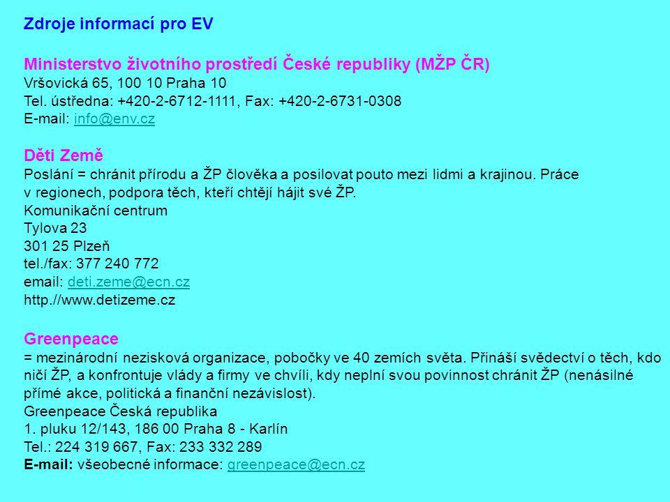 Zdroje informací pro EV