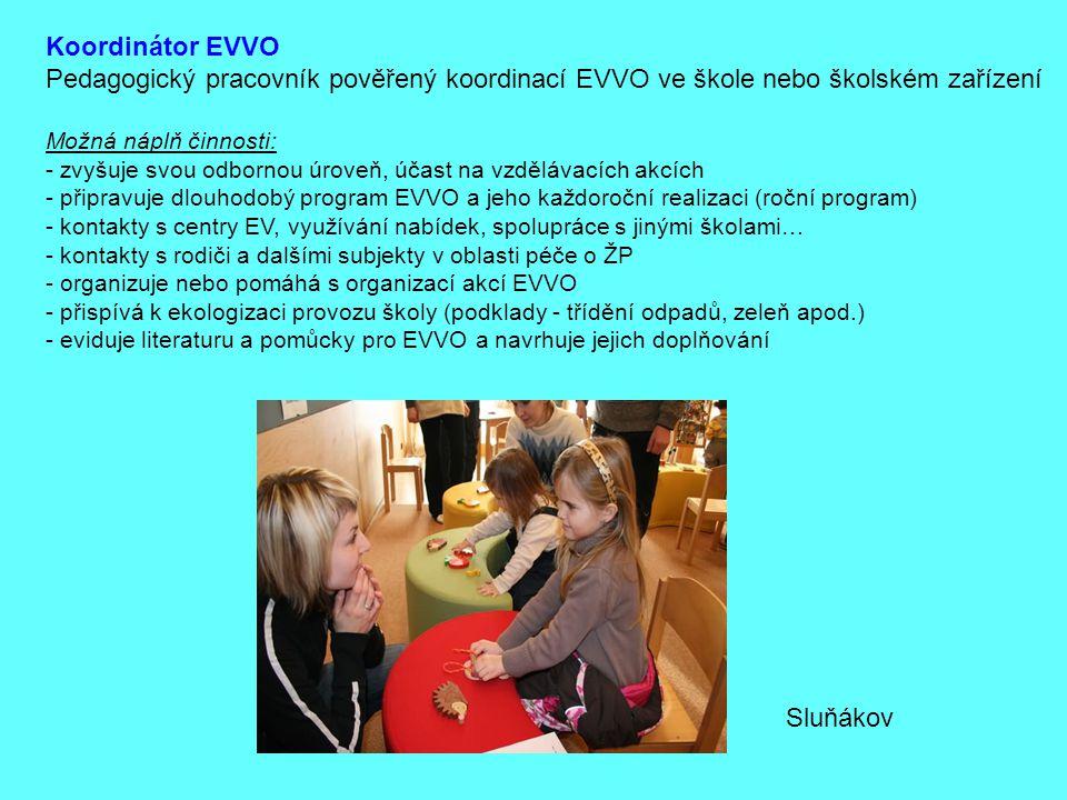 Koordinátor EVVO Pedagogický pracovník pověřený koordinací EVVO ve škole nebo školském zařízení. Možná náplň činnosti: