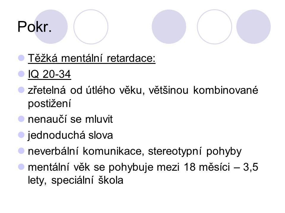 Pokr. Těžká mentální retardace: IQ 20-34