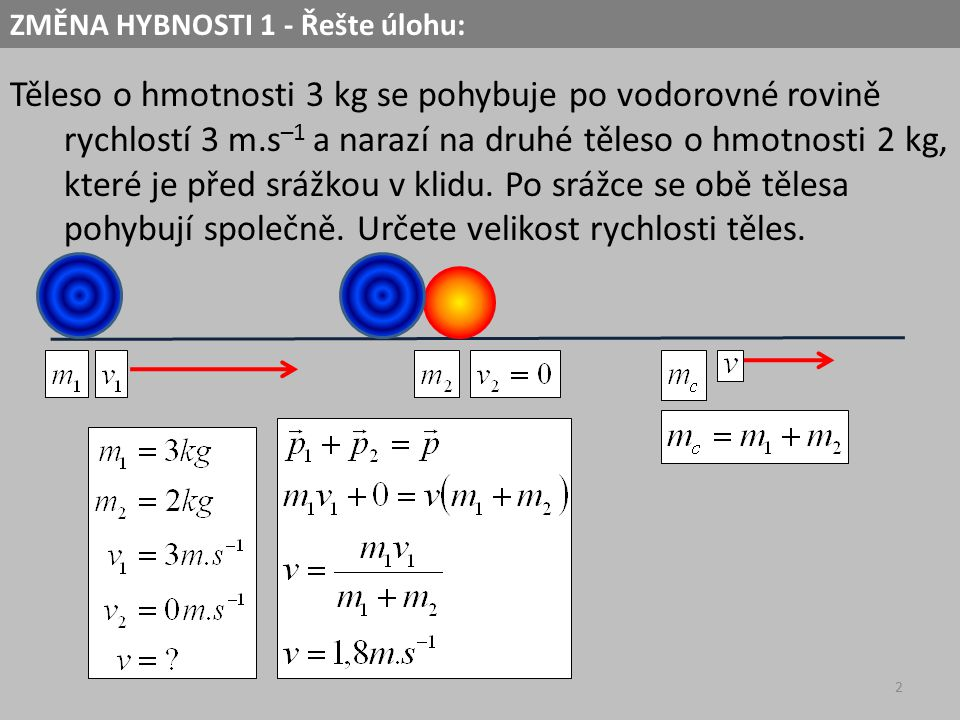 ZMĚNA HYBNOSTI 1 - Řešte úlohu: