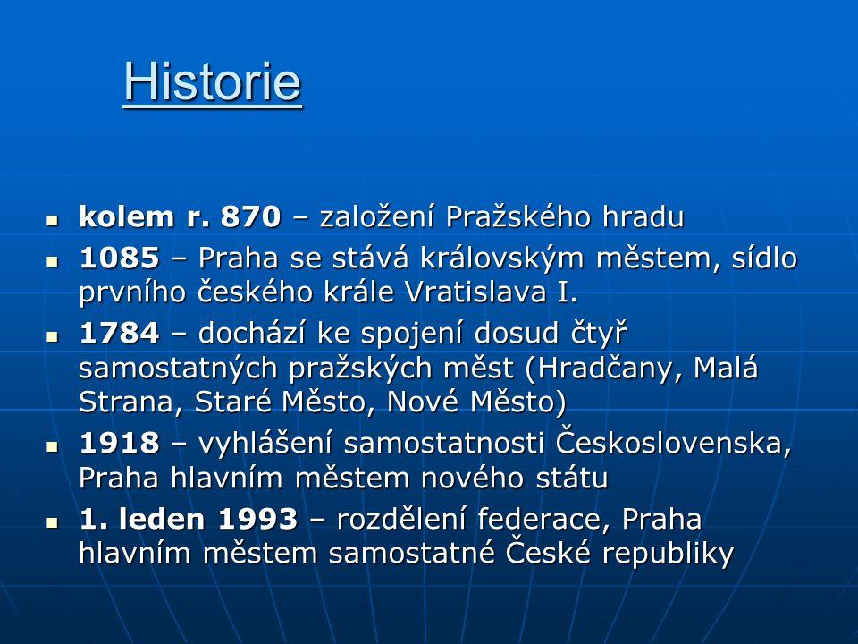 Historie kolem r. 870 – založení Pražského hradu