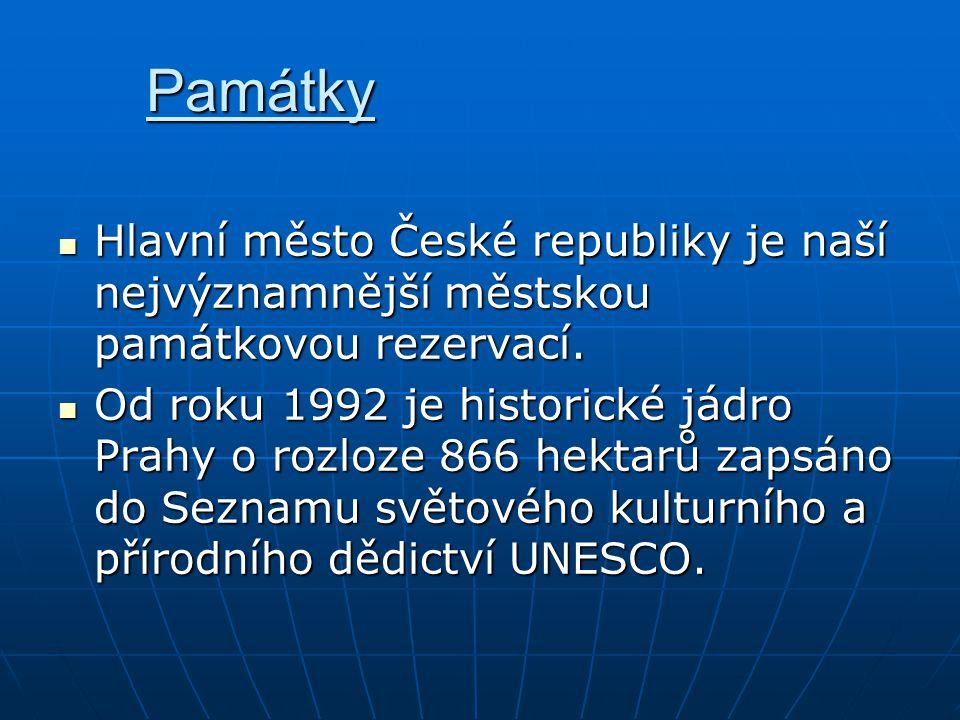 Památky Hlavní město České republiky je naší nejvýznamnější městskou památkovou rezervací.