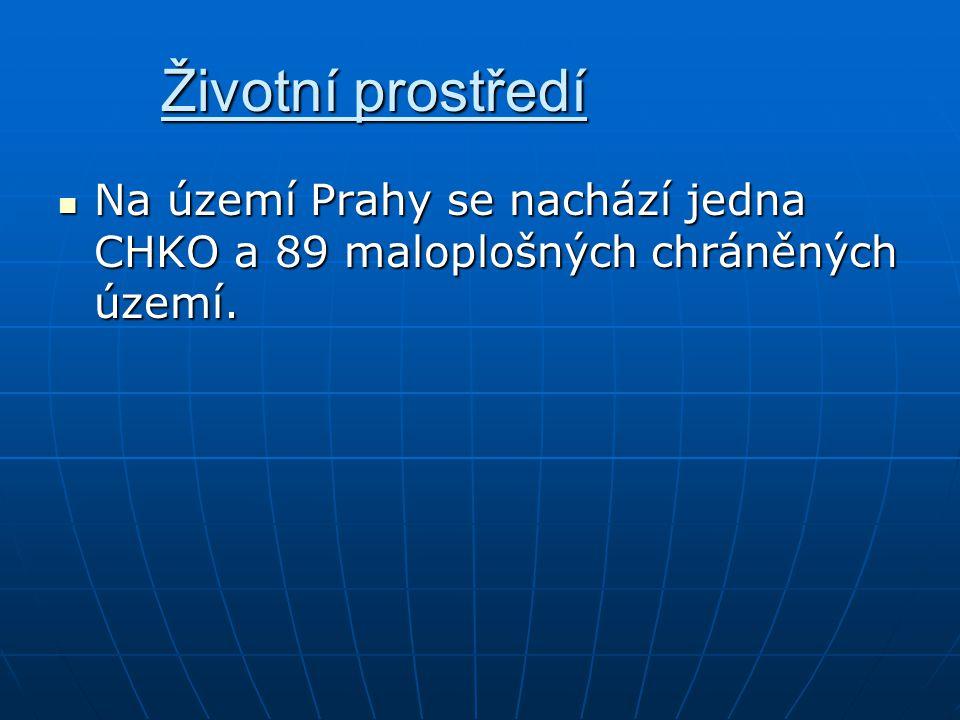 Životní prostředí Na území Prahy se nachází jedna CHKO a 89 maloplošných chráněných území.