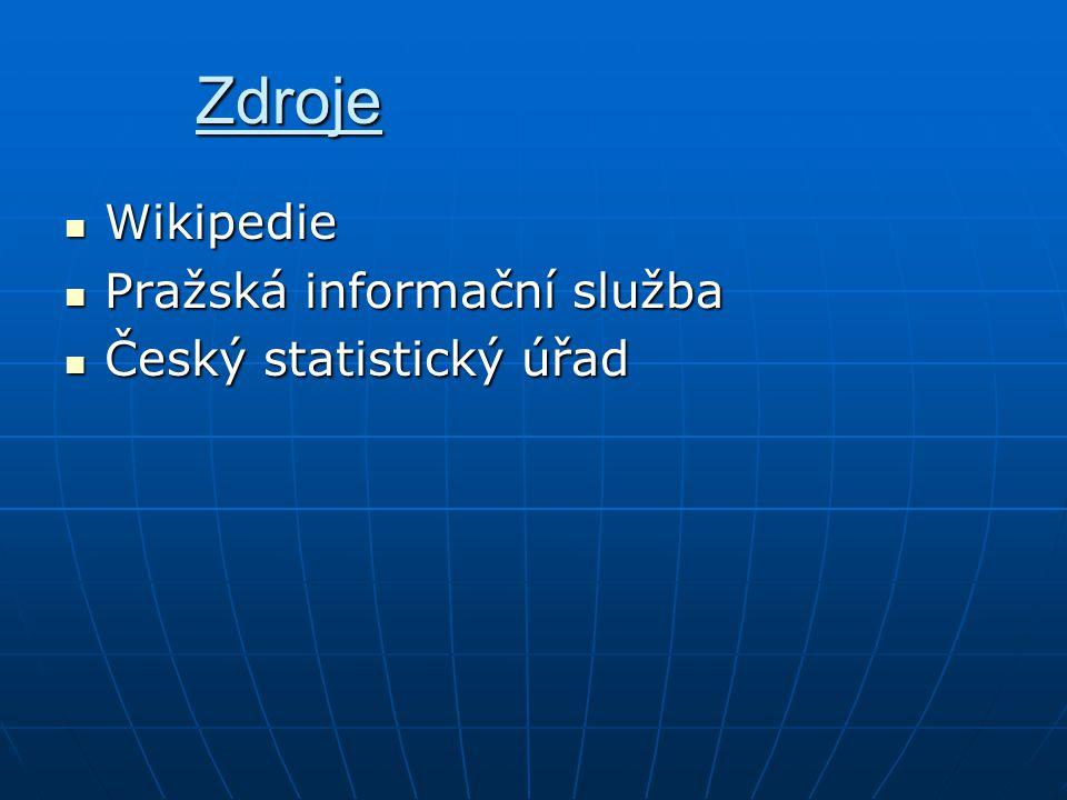 Zdroje Wikipedie Pražská informační služba Český statistický úřad