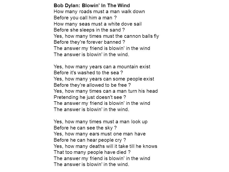 Bob Dylan: Blowin In The Wind