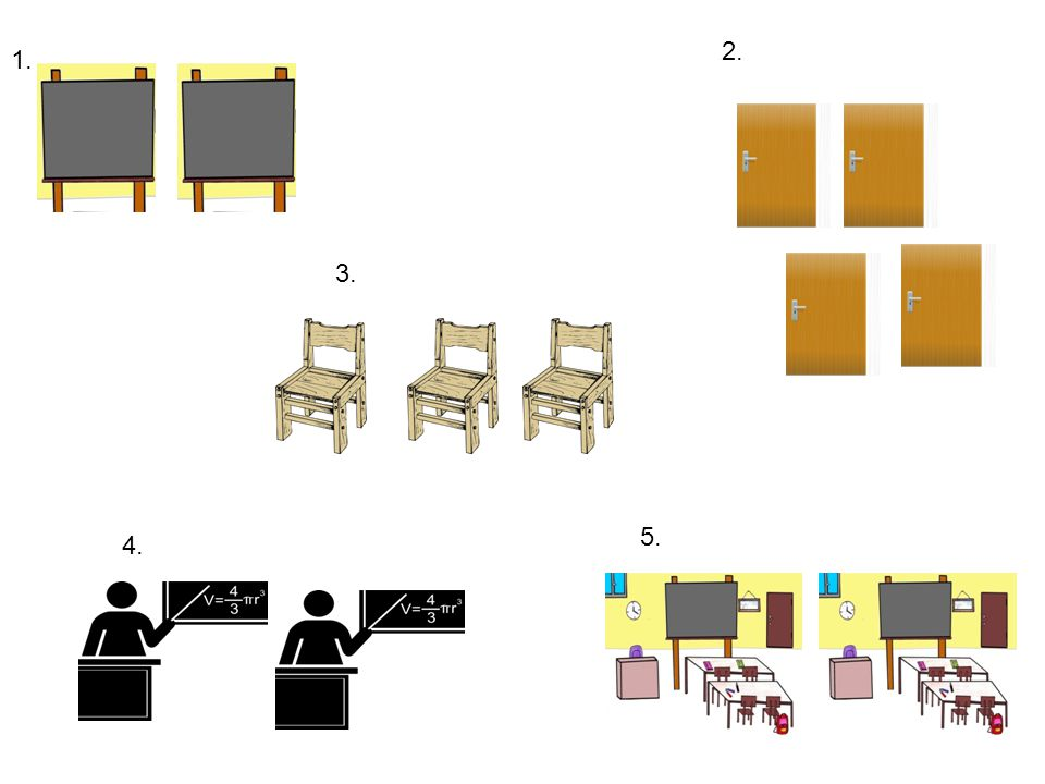 two blackboards 2. four doors 1. 3. three chairs two teachers 5. two classrooms 4.