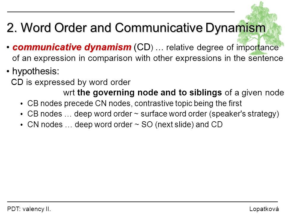 2. Word Order and Communicative Dynamism