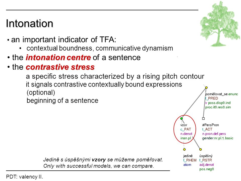 Intonation the intonation centre of a sentence the contrastive stress