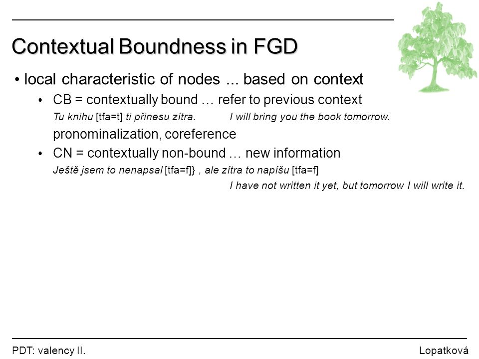Contextual Boundness in FGD