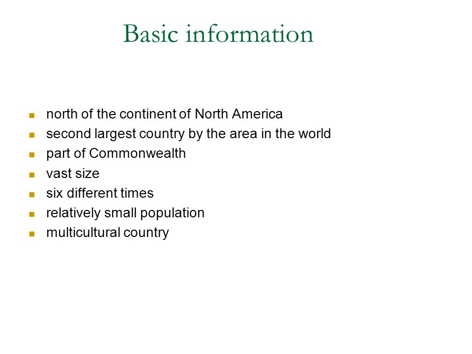 Basic information north of the continent of North America