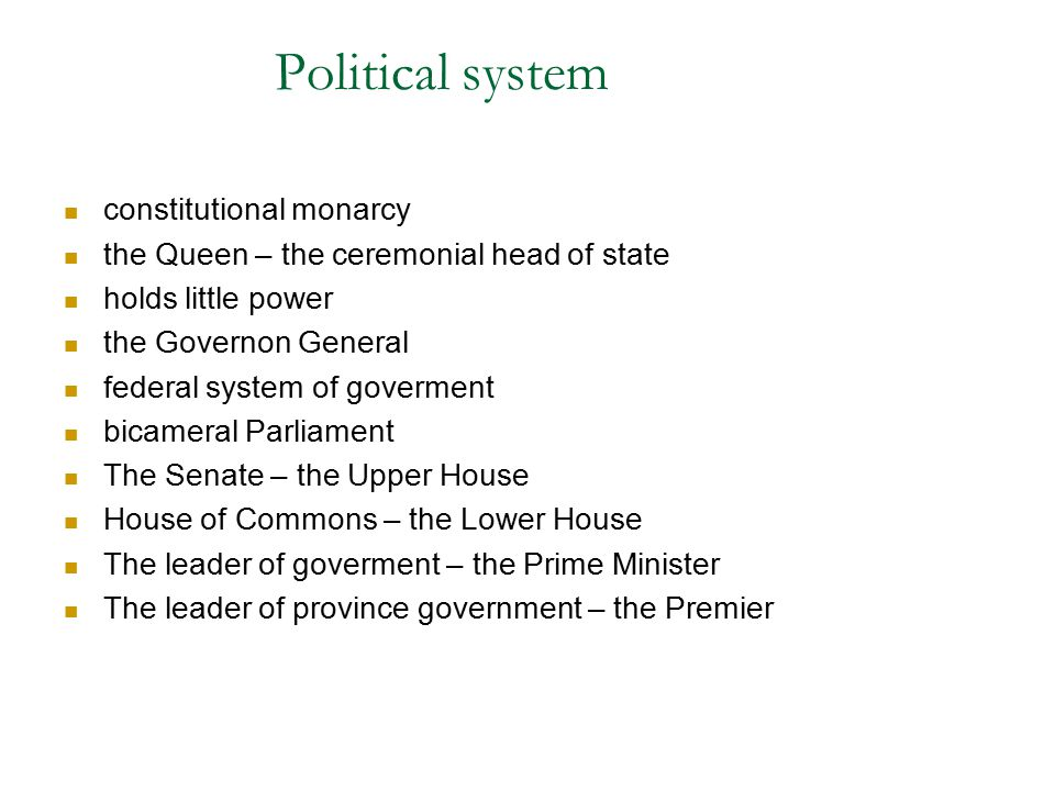 Political system constitutional monarcy