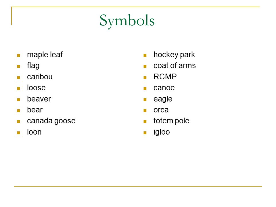 Symbols maple leaf flag caribou loose beaver bear canada goose loon
