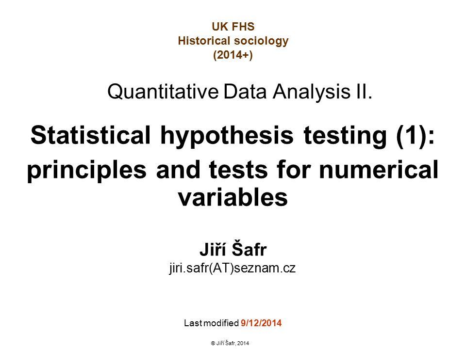 Quantitative Data Analysis II.