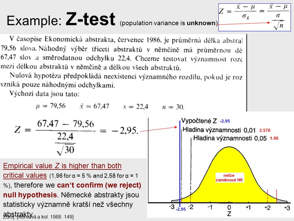 Example: Z-test (population variance is unknown)
