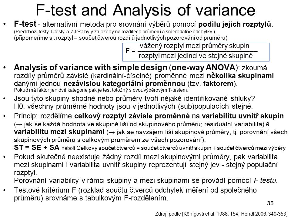 F-test and Analysis of variance