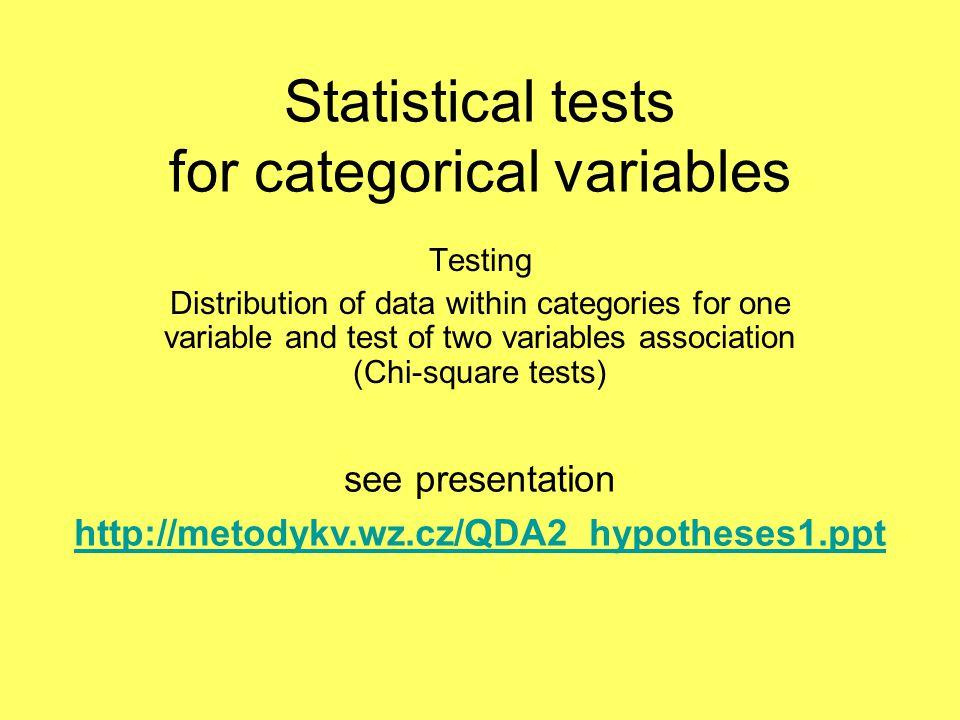 Statistical tests for categorical variables
