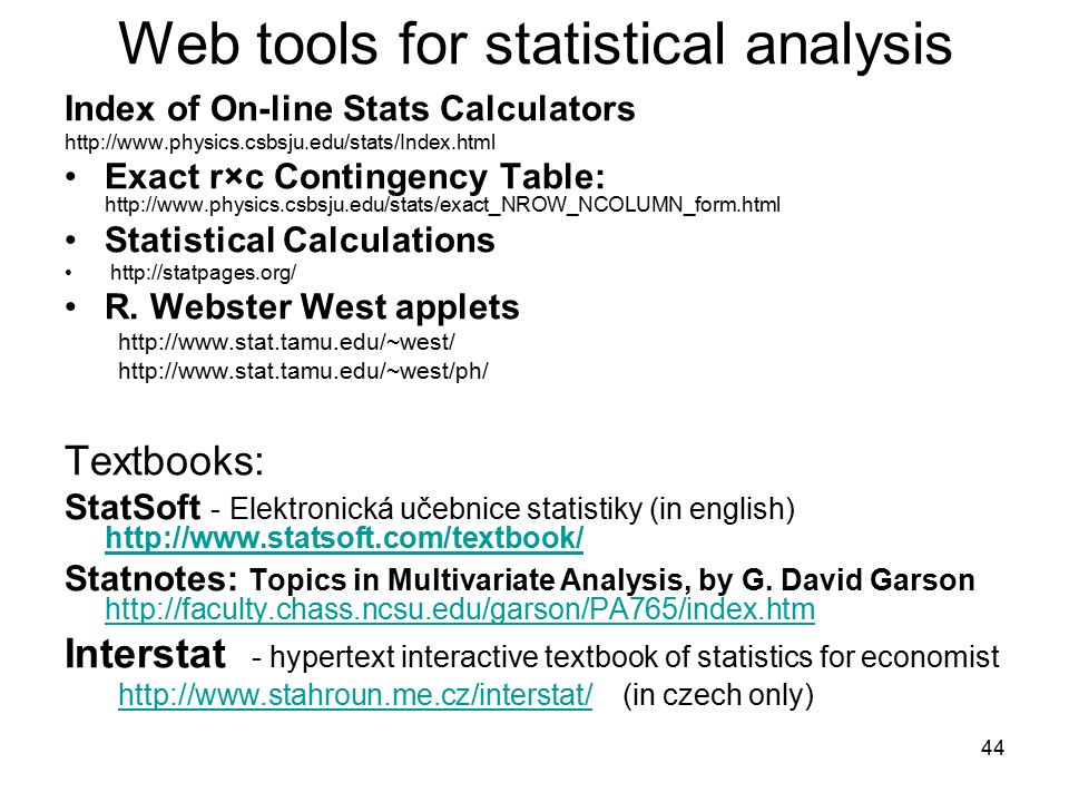 Web tools for statistical analysis