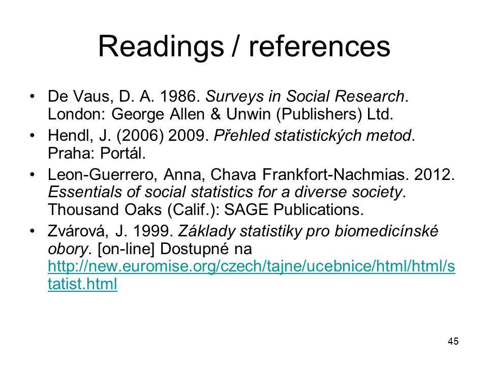 Readings / references De Vaus, D. A. 1986. Surveys in Social Research. London: George Allen & Unwin (Publishers) Ltd.