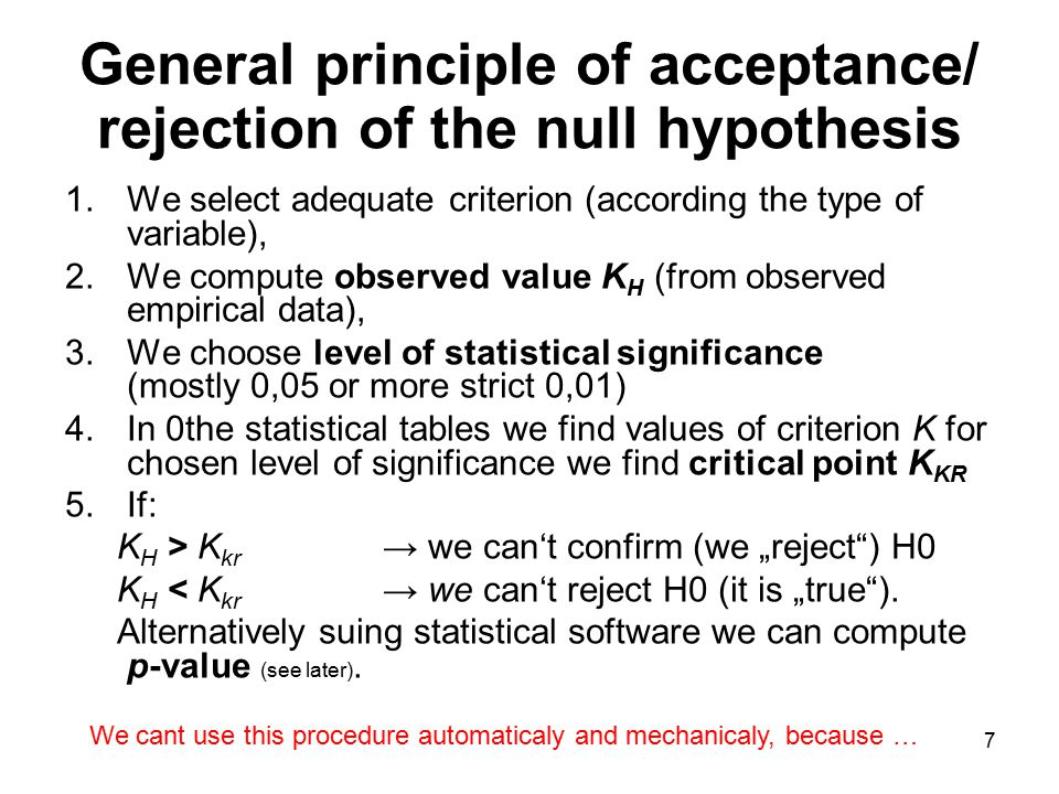 General principle of acceptance/ rejection of the null hypothesis