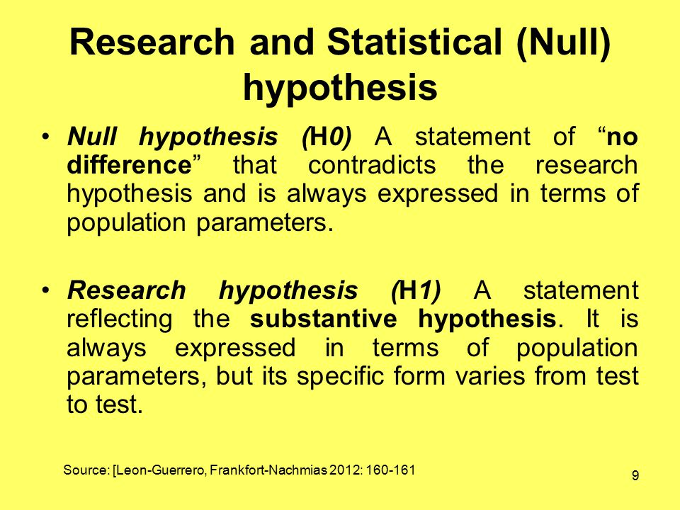 Research and Statistical (Null) hypothesis