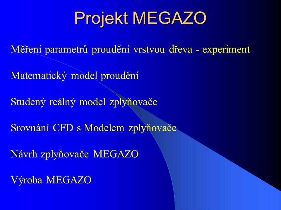 Projekt MEGAZO Měření parametrů proudění vrstvou dřeva - experiment
