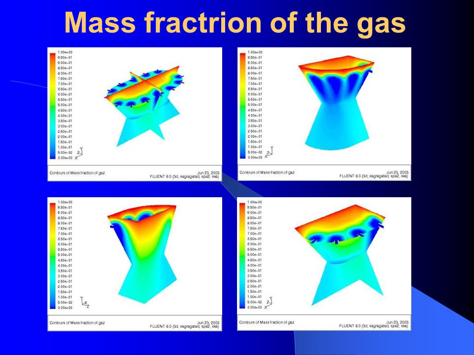 Mass fractrion of the gas