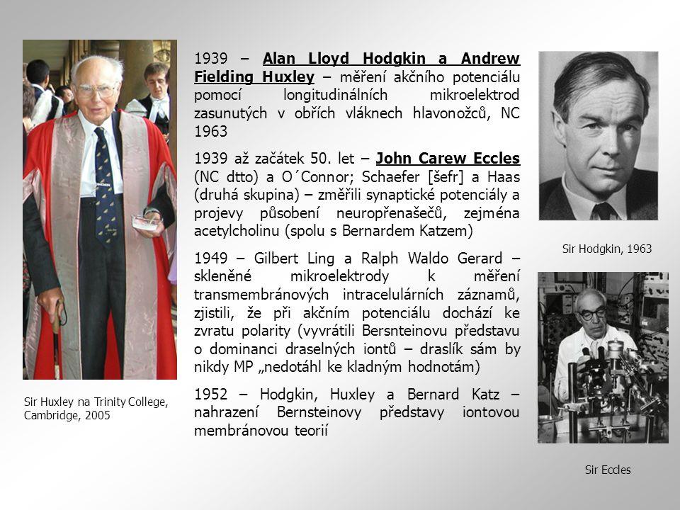 1939 – Alan Lloyd Hodgkin a Andrew Fielding Huxley – měření akčního potenciálu pomocí longitudinálních mikroelektrod zasunutých v obřích vláknech hlavonožců, NC 1963