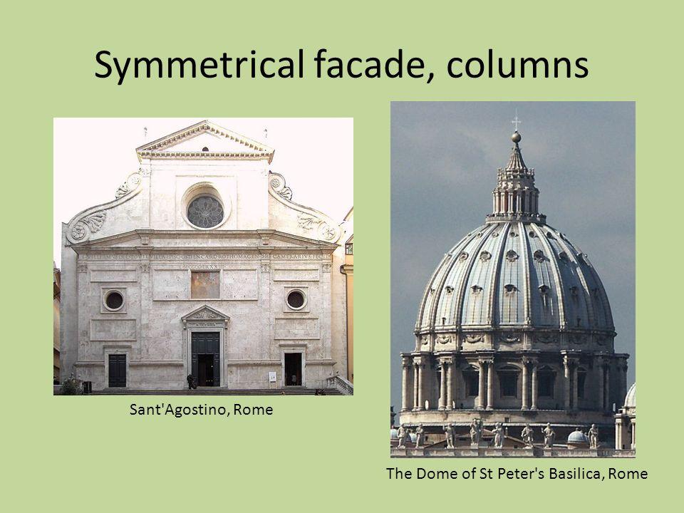Symmetrical facade, columns