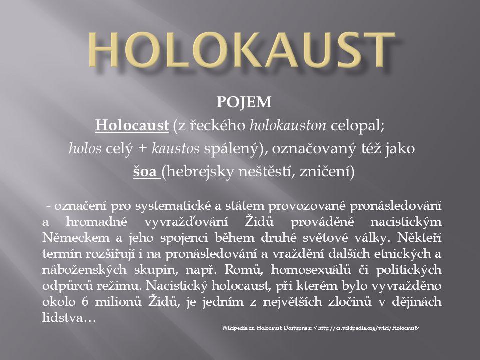 HOLOKAUST POJEM Holocaust (z řeckého holokauston celopal;
