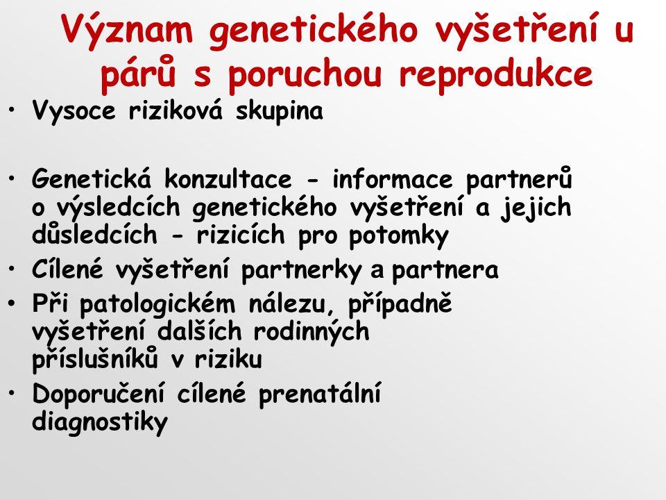 Význam genetického vyšetření u párů s poruchou reprodukce