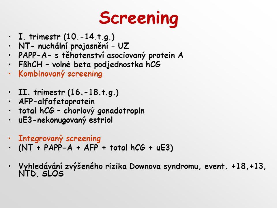 Screening I. trimestr (10.-14.t.g.) NT- nuchální projasnění – UZ