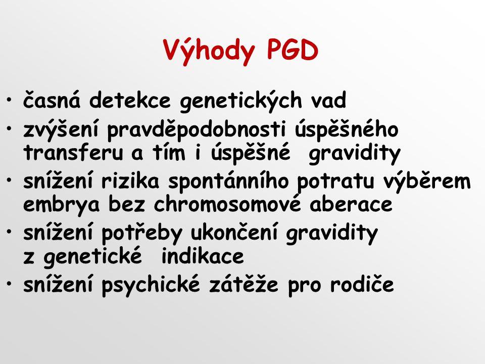 Výhody PGD časná detekce genetických vad