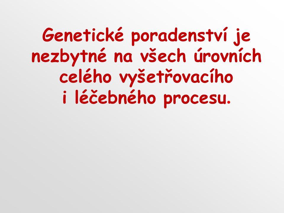 Genetické poradenství je nezbytné na všech úrovních celého vyšetřovacího i léčebného procesu.