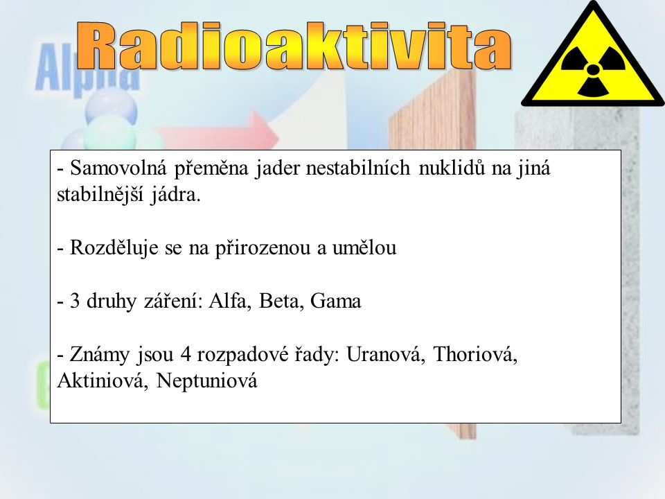 Radioaktivita - Samovolná přeměna jader nestabilních nuklidů na jiná stabilnější jádra. Rozděluje se na přirozenou a umělou.